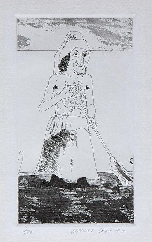 David Hockney, 'The Enchantress in Her Garden', 1969, Print, Soft ground etching on Hodgkinson handmade wove paper, ModernPrints.co.uk