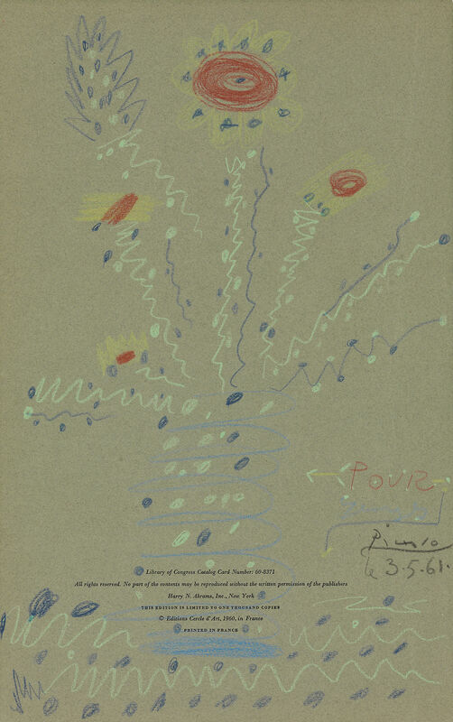 Pablo Picasso, 'Fleurs', 1961, Drawing, Collage or other Work on Paper, Wax and crayons on paper, Opera Gallery Gallery Auction