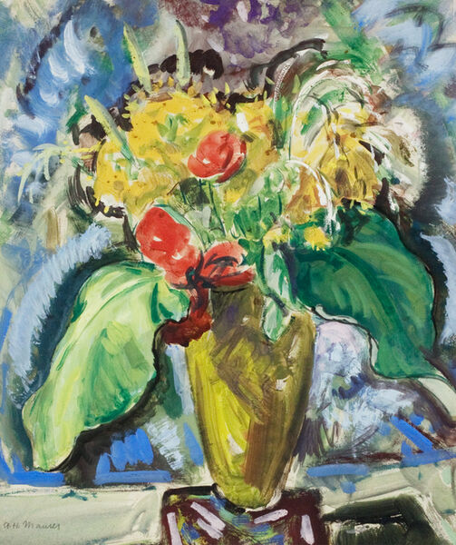 Alfred H. Maurer, 'Flowers in a Green Vase'