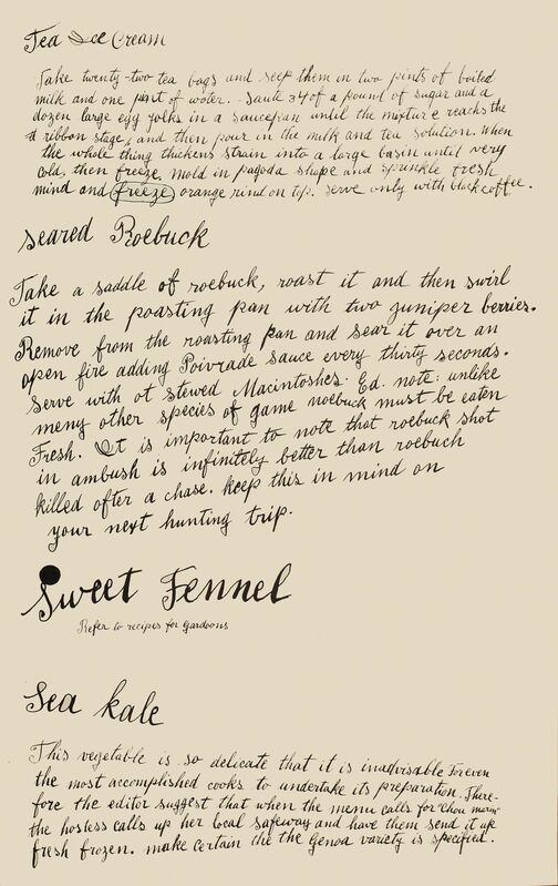 Andy Warhol, 'Tea Ice Cream, Seared Roebuck, Sweet Fennel, Sea Kale', 1959, Print, Offset lithograph, Woodward Gallery