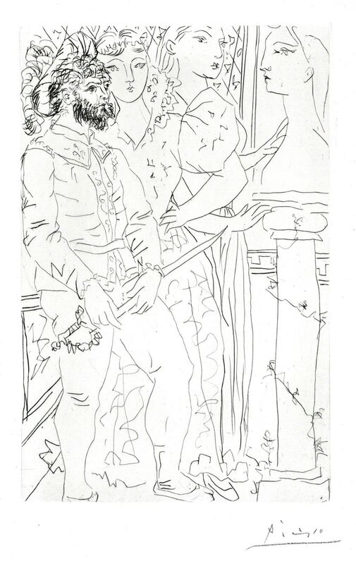 """Pablo Picasso, 'Trois Comédiens Avec Buste de Marie-Thérese', 1933, Print, Original drypoint printed in black ink on Montval laid paper bearing the """"Picasso"""" watermark., Galerie d'Orsay"""