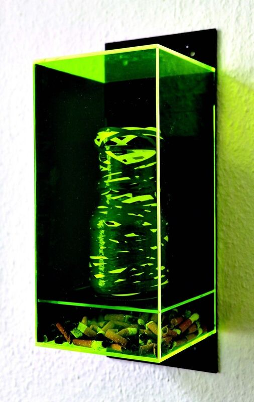 Michael Müller, 'Untitled', 2013, Mixed Media, Colored plexiglass, cigarette ends, tape, paper cup, glas, mold, Aanant & Zoo