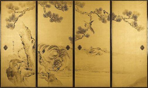Kishi Ganku, 'Fusuma: Tigers and Dragon', 1813-1838