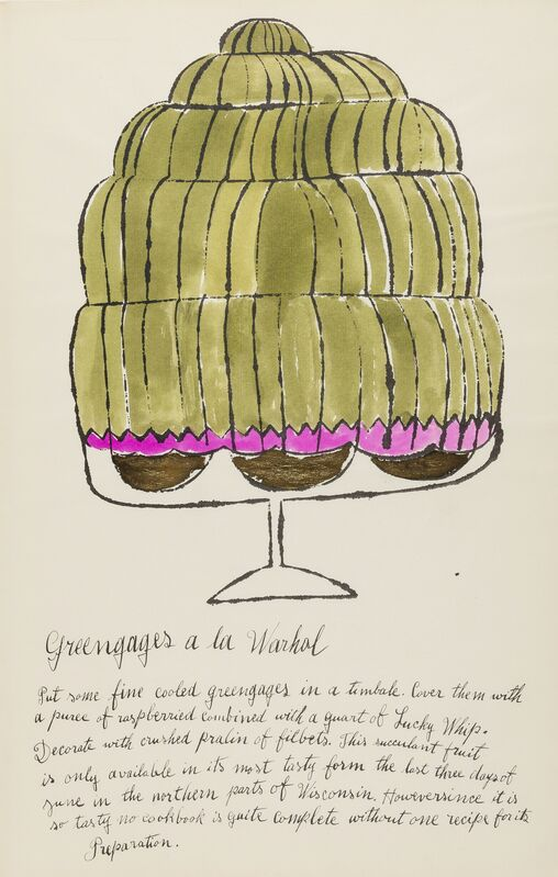 Andy Warhol, 'Greengages a la Warhol (from Wild Raspberries) (see Feldman & Schellmann IV.143.A)', 1959, Print, Offset lithograph extensively heightened with watercolour and gold ink, on laid paper, Forum Auctions