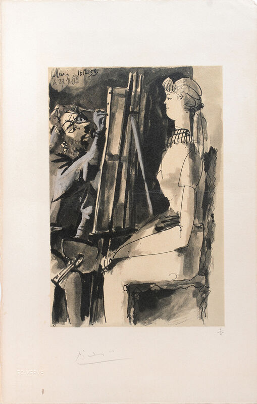 Pablo Picasso, '(Artist and Model.) Untitled from Suite de 15 dessins de Picasso. ', 1954, Print, Lithograph in colours on Arches watermarked wove paper, all edges untrimmed, Peter Harrington Gallery