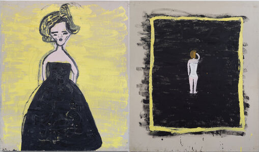 Rose Wylie, 'Black Frock, The Modest Corset (Malevitch)', 2019