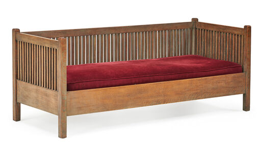 Gustav Stickley, 'Spindled cube settle, Eastwood, NY', early 20th C.