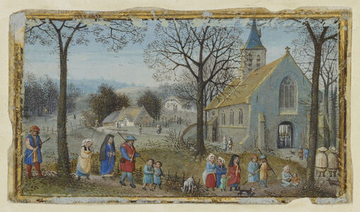 Simon Bening, 'Villagers on Their Way to Church', 1550