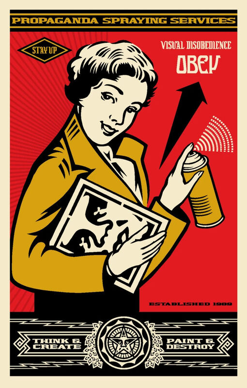 Shepard Fairey, 'Obey Stay Up Girl', 2019, Print, Signed Offset lithograph on cream Speckle Tone paper, Corridor Contemporary