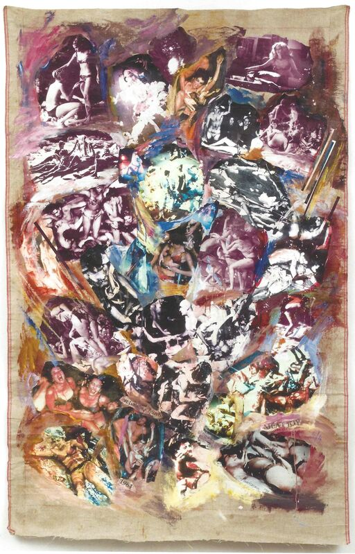 Carolee Schneemann, 'Meat Joy', 1999, Mixed Media, Performance collage: photos from1964 performance, crayon, paint on linen, P.P.O.W
