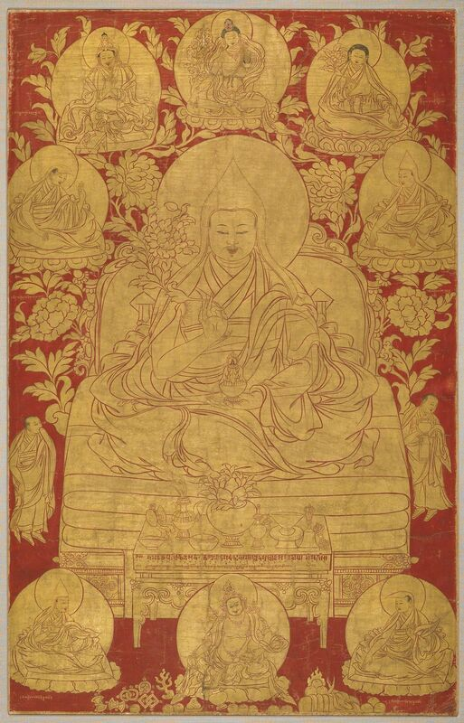 'The Fifth Dalai Lama with Previous Incarnations', 18th century, Painting, Pigments on cloth, Rubin Museum of Art