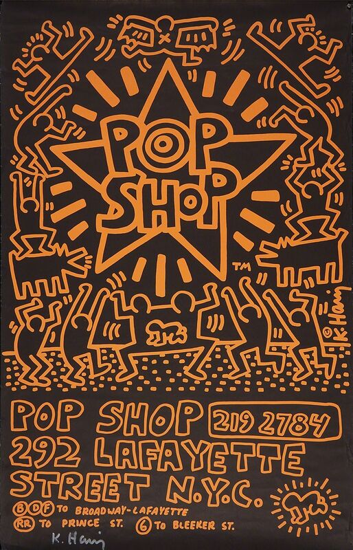 Keith Haring, 'POP SHOP NYC, Advertising Paste-Up', 1985, Print, Offset lithograph poster in colors (framed), Rago/Wright