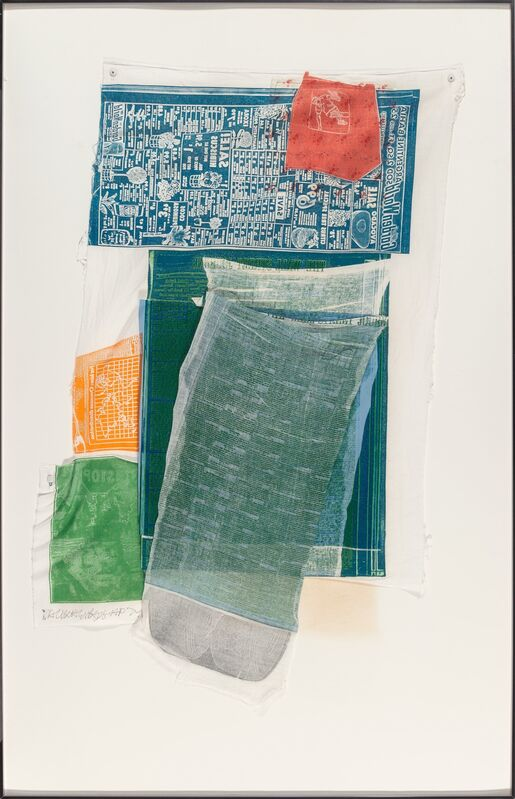 Robert Rauschenberg, 'Platter, from Airport Series', 1974, Print, Relief print with intaglio and collage, in colors on fabric, Heritage Auctions