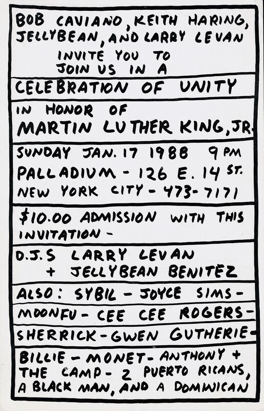 Keith Haring, 'Keith Haring Martin Luther King Jr party The Palladium NYC', 1988, Posters, Offset printed announcement, Lot 180
