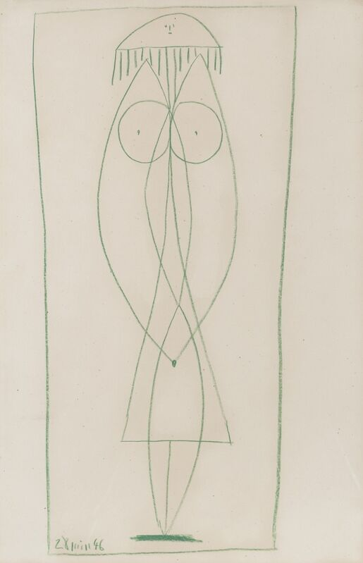 Pablo Picasso, 'Nu debout (Françoise)', 1946, Drawing, Collage or other Work on Paper, Colored crayon on paper, Galerie Thomas