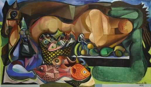 Emiliano Di Cavalcanti, 'Reclining Nude with Fish and Fruit'