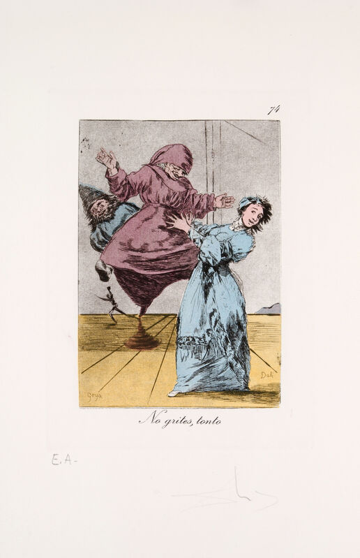 Salvador Dalí, 'Les Caprices de Goya: No grites, tonto', 1977, Print, Color etching and aquatint on Rives paper, Galerie Michael