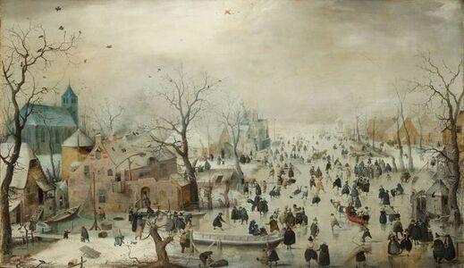 Hendrick Avercamp, 'Winter Landscape with Ice Skaters', ca. 1608