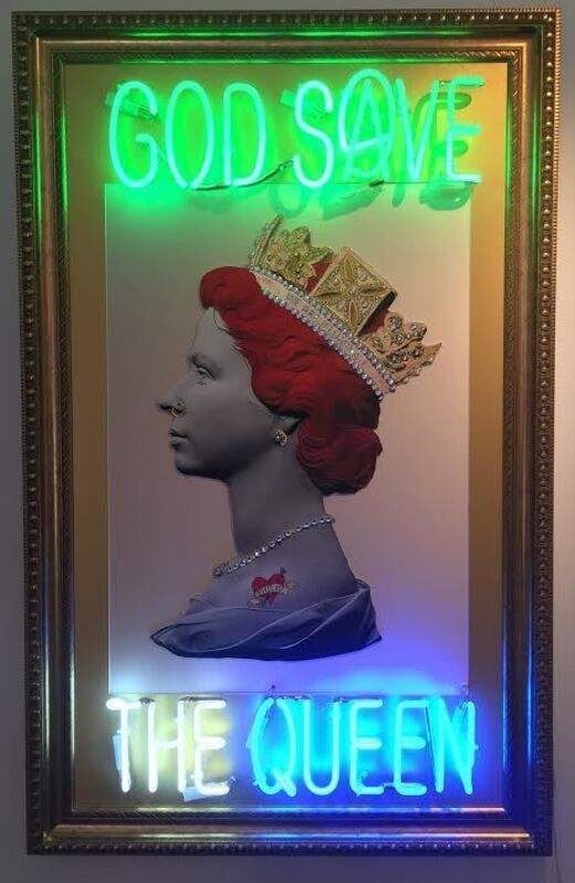 Illuminati Neon, 'God Save The Queen ', 2017, Sculpture, Hand painted, gold leafed on distressed glicee art paper encrusted with jewels with green, blue and white neon dimmers, Imitate Modern