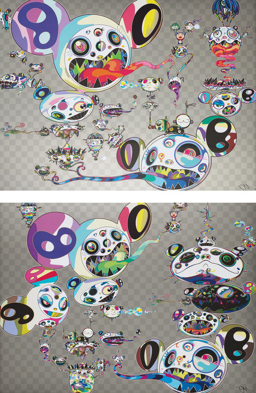 Takashi Murakami, 'Hands Clasped; and Another Dimension Brushing Against Your Hand', 2015, Print, Two offset lithographs in colours, on smooth wove paper, the full sheets., Phillips