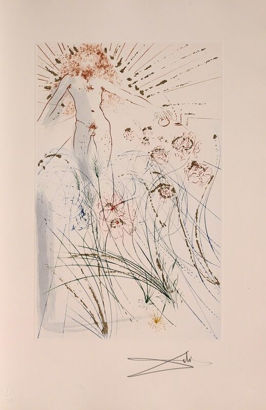 Salvador Dalí, 'The Beloved Feeds Among the Lilies (Song of Songs, Plate J)', 1971, Print, Hand-signed etching and stencil with gilding, Martin Lawrence Galleries