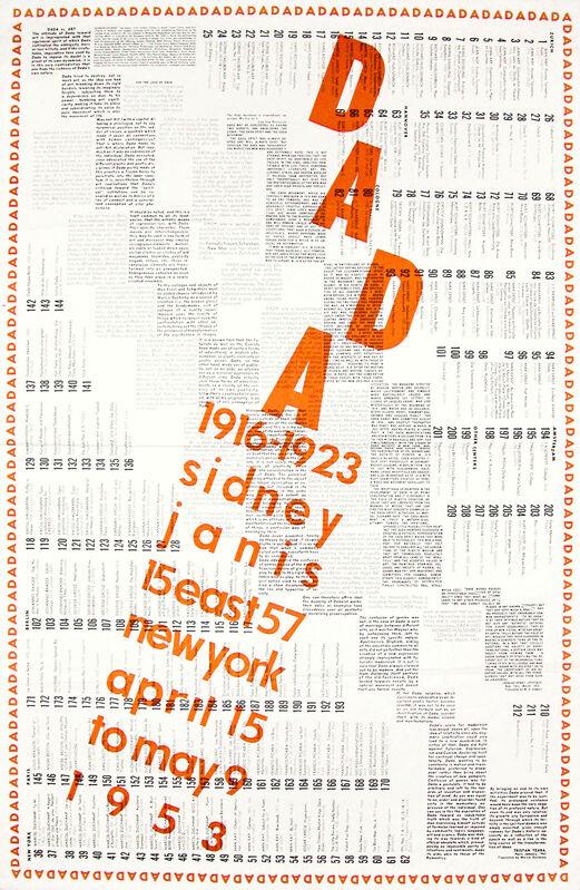 Marcel Duchamp, 'International DADA Exhibition 1916-1923', 1953, Ephemera or Merchandise, Large Poster printed in black and orange, designed by Duchamp, Ursus Books & Prints