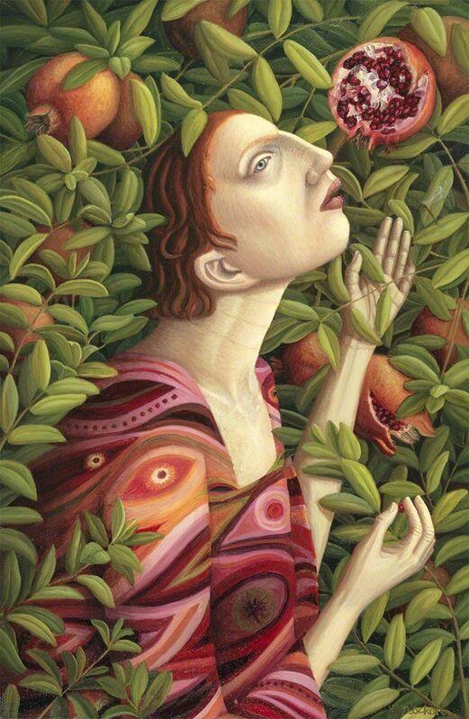 Helen Flockhart, 'Plucking Pomegranates', 2017, Painting, Oil on board, Arusha Gallery