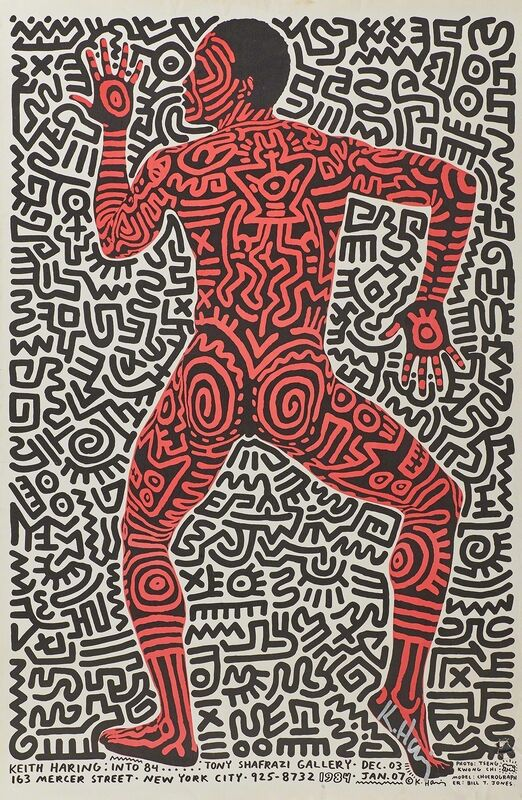 Keith Haring, 'Keith Haring: Into 84 exhibition poster for Tony Shafrazi Gallery', 1984, Print, Offset lithograph in colors, Rago/Wright