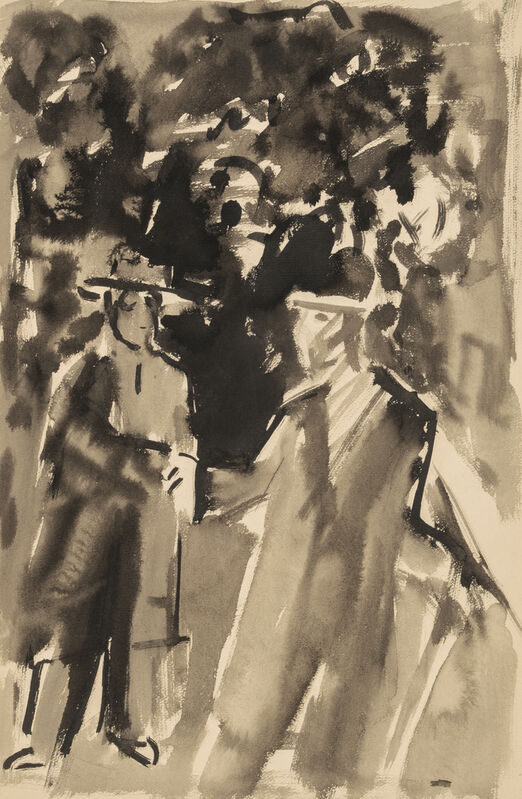 Ernst Ludwig Kirchner, 'Two Men', 1920, Drawing, Collage or other Work on Paper, Watercolor, brush and ink and graphite on heavy tan laid paper, Galerie St. Etienne