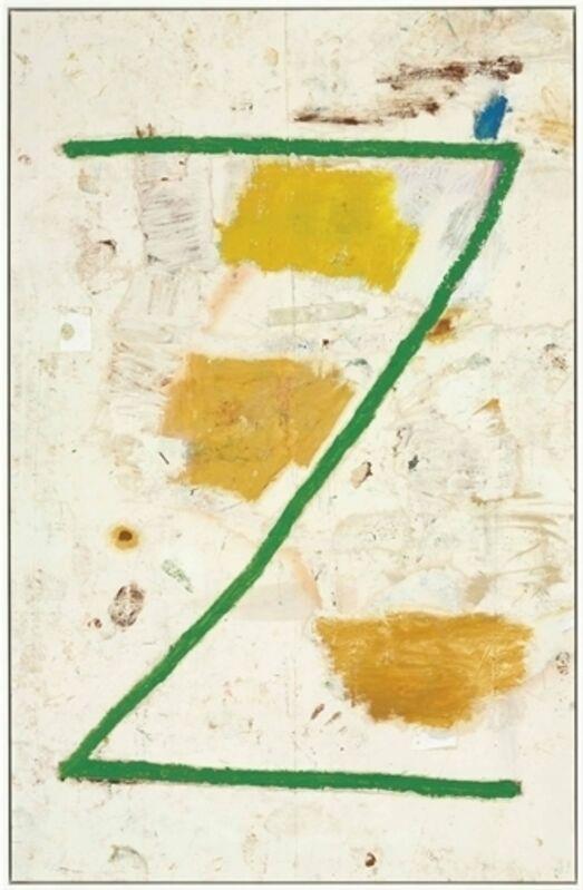 Joe Bradley, 'Z', Oil, spray paint, dirt, paper and tape on canvas, Christie's