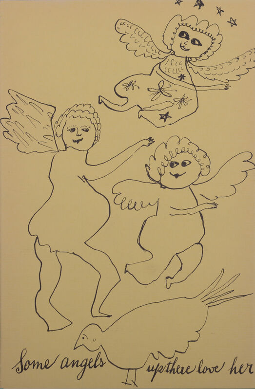 Andy Warhol, 'Some angels up there love her from Holy Cats by Andy Warhol's Mother', ca. 1957, Print, Offset lithograph on wove paper, NCAG