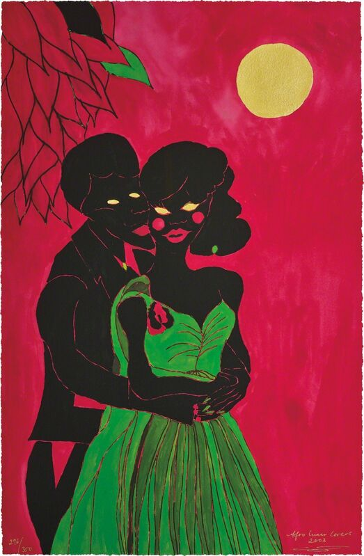 Chris Ofili, 'Afro Lunar Lovers I', 2003, Print, Giclée print in colours, with embossing and gold leaf, on wove paper, the full sheet., Phillips