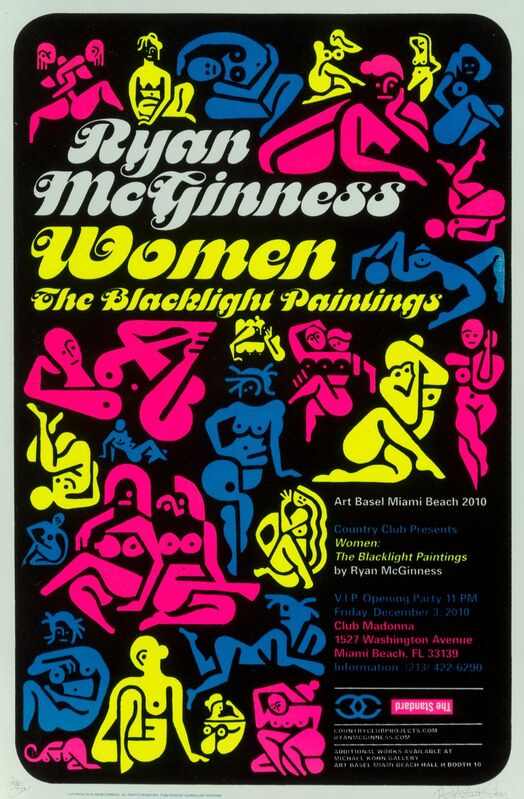Ryan McGinness, 'Women: The Blacklight Paintings, exhibition poster', 2011, Posters, Screenprint with black flocking and fluorescent ink on paper, Heritage Auctions