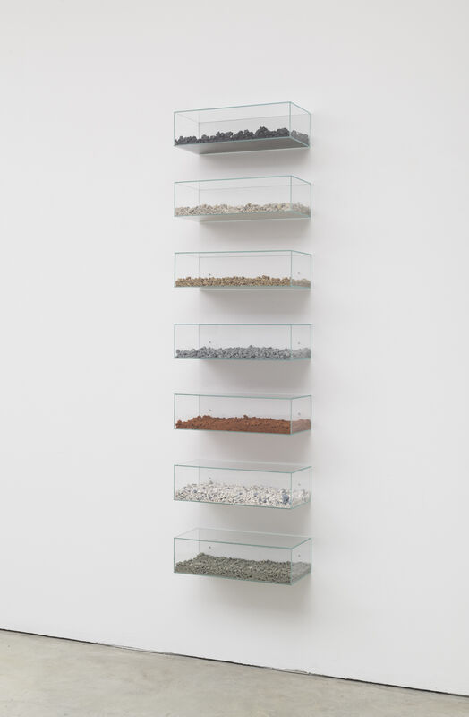 Ragna Robertsdottir, 'Landscapes for Donald Judd', 2019, Sculpture, 7 glass boxes with hot spring mud for Krysuvik, Iceland, Persons Projects