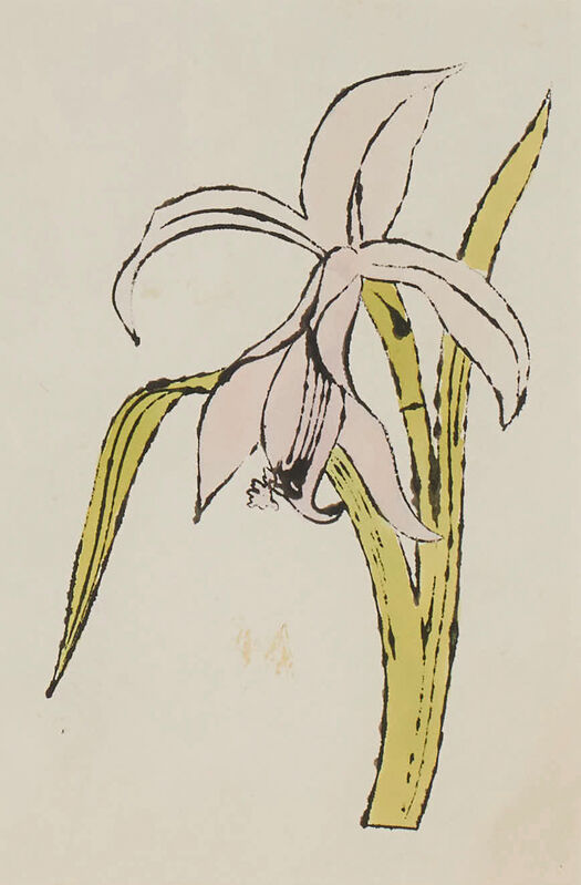 Andy Warhol, 'Still-Life (Flower)', ca.1957, Drawing, Collage or other Work on Paper, Ink and aniline watercolor dye on Strathmore paper, Capsule Gallery Auction
