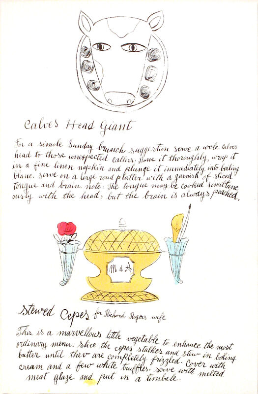 Andy Warhol, 'Calves Head Giant & Stewed Cepes', 1959, Print, Unique watercolor and offset lithograph on paper, Artsy x Capsule Auctions