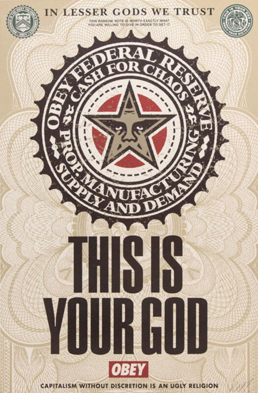 Shepard Fairey, 'This is your god offset', 2003, Painting, Rudolf Budja Gallery