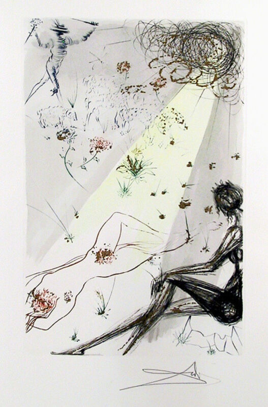 Salvador Dalí, 'Looke Not Upon Mee... from The Song of Songs of King Solomon', 1972, Print, Color Etching with Gold Dust on Arches Paper, Signed in Pencil, RoGallery