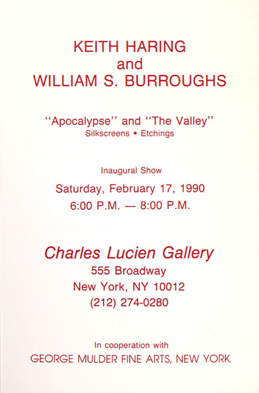 Keith Haring, 'Keith Haring and William S. Burroughs 'Apocalypse' announcement ', 1990, Ephemera or Merchandise, Announcement card, Lot 180