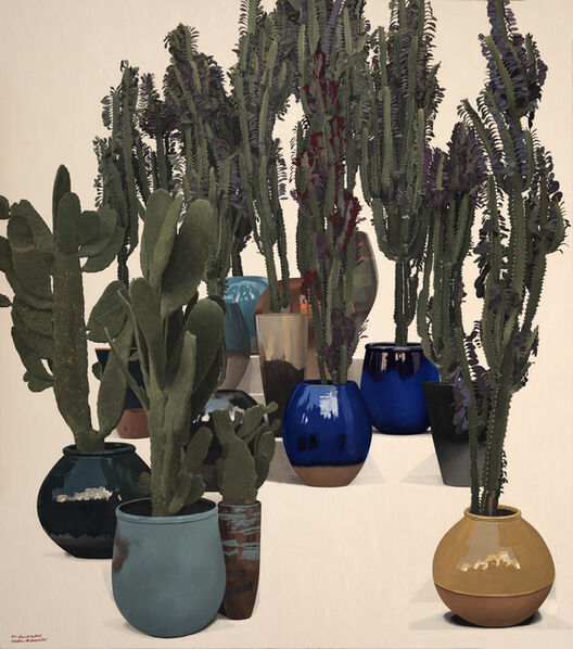 Ibrahim El Dessouki, 'Series of Gated Communities - Two Kinds of Cactus in Glazed Pots - pentaptych 3/5', 2020