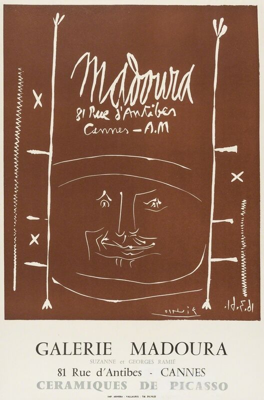 Pablo Picasso, 'Madoura 1961 (CZW187); Vallauris 4e biennale 1974', 1961 and 1974, Posters, Linocut printed in brown together with offsett lithograph printed in colours, Forum Auctions