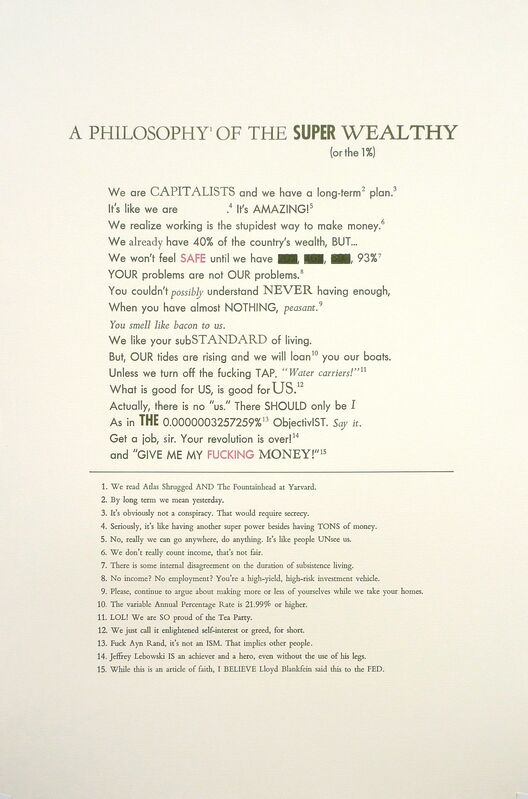 William Powhida, 'The 1%', 2011, Print, Letterpress on paper, Postmasters Gallery