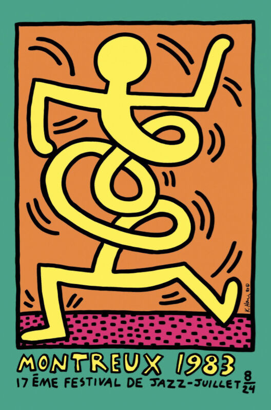 Keith Haring, 'Montreux Jazz Festival (green)', 1983, Print, Lithograph in colors with text, michael lisi / contemporary art
