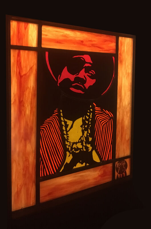 TF DUTCHMAN, 'Slick Rick (Orange)', 2008, Sculpture, Stained glass, vitreous paint, LED light, custom wood light box frame, Deep Space Gallery
