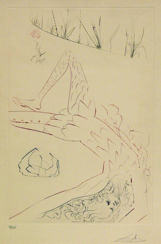 Salvador Dalí, 'Tristan Et Iseult - Tristan Wounded', 1970, Print, Etching Aquatint, Gregg Shienbaum Fine Art