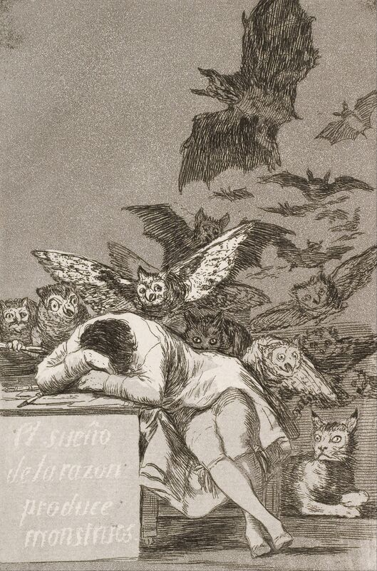 Francisco de Goya, 'The Sleep of Reason Produces Monsters, No. 43 from Los Caprichos (The Caprices)', 1796-1798, Print, Etching and aquatint, Art History 101