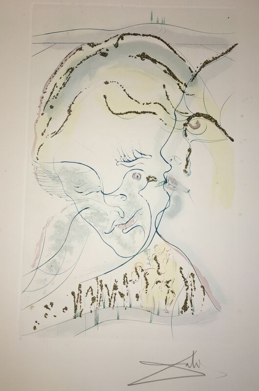 Salvador Dalí, 'Behold, To Art Fair', 1971, Drawing, Collage or other Work on Paper, Original etching + Color + Gold dust, Dali Paris