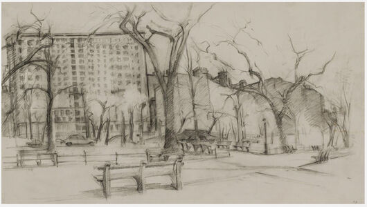 Rackstraw Downes, 'Riverside Drive with the Gates of Columbia', 1979
