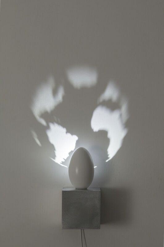 Fabrizio Corneli, 'Mondo', 2018, Mixed Media, Goose egg, epoxy resin, aluminium, halogen, figure of light, Studio Trisorio