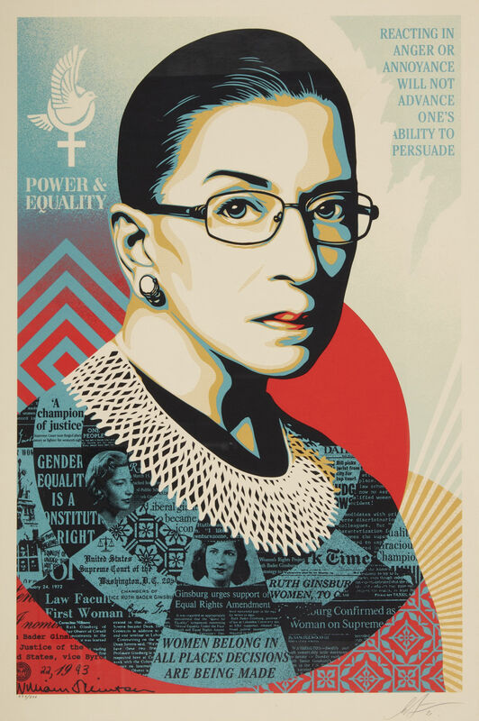 Shepard Fairey, 'A CHAMPION OF JUSTICE (Ruth Bader Ginsburg)', 2021, Print, Handpulled Screenprint on Speckle Tone Creme Paper, artempus